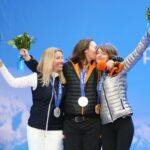新種目スノーボード(女子)のメダルセレモニーにて。左よりHERNANDEZ EP CERVELLON Cecile (FRA)、MENTEL-SPEE Bibian(NED)、PURDY Amy(USA)(写真:比嘉優樹)