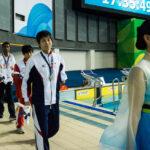 昨年(2014年)仁川で行われたアジアパラ競技大会・競泳男子50M自由形S9で優勝した山田拓朗(23歳・NTTドコモ)この大会で4つの金メダルを獲得した。またこれまでにアテネ、北京、ロンドンと3つのパラリンピックにも出場し活躍している