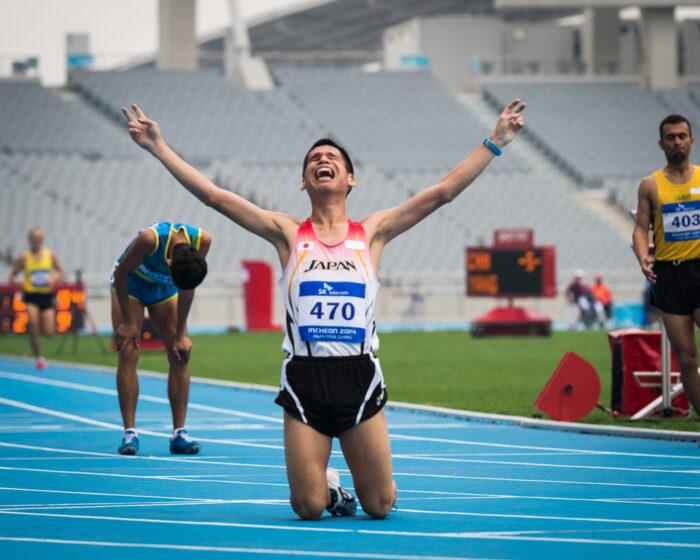 堀越信司(26歳・NTT西日本)1500M、T12のゴール後、満足のいく走りができた堀越の表情が輝いていた