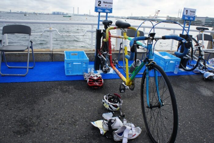 杉本さんと金城さんが使用したタンデムバイク。2013年の横浜大会で中澤選手が使用した。今も練習では現役で活躍中。 (写真:佐々木延江)