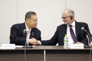左から森喜朗会長とフリップ・クレイバン会長(写真提供:東京オリンピック・パラリンピック競技大会組織委員会/竹見脩吾)