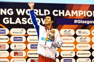 男子100メートル平泳ぎS11、表彰式