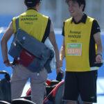 木村選手を待つハンドラー