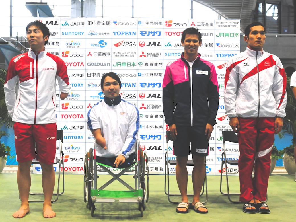 7月のグラスゴーIPC水泳世界選手権のメダリスト。左から、山田拓朗(NTTドコモ)、鈴木孝幸(ゴールドウィン)、木村敬一(東京ガス)、田中康大(千葉県)
