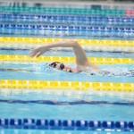 9月5日、女子400メートル自由形S10を泳ぐ池愛里(左足首まひ)