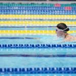 女子100メートル平泳ぎSB4を泳ぐ成田真弓(下半身まひ・横浜サクラ)