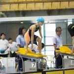 女子100メートル平泳ぎSB7のスタート。西田杏(左上腕欠損・右足大腿骨欠損/峯村PSS東京)