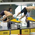 男子100メートル平泳ぎSB6のスタート。木村潤平(NTT東日本)