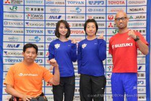 記者会見に出演した選手。左から、永尾嘉章、辻紗絵、三須穂乃香 写真・三浦宏之