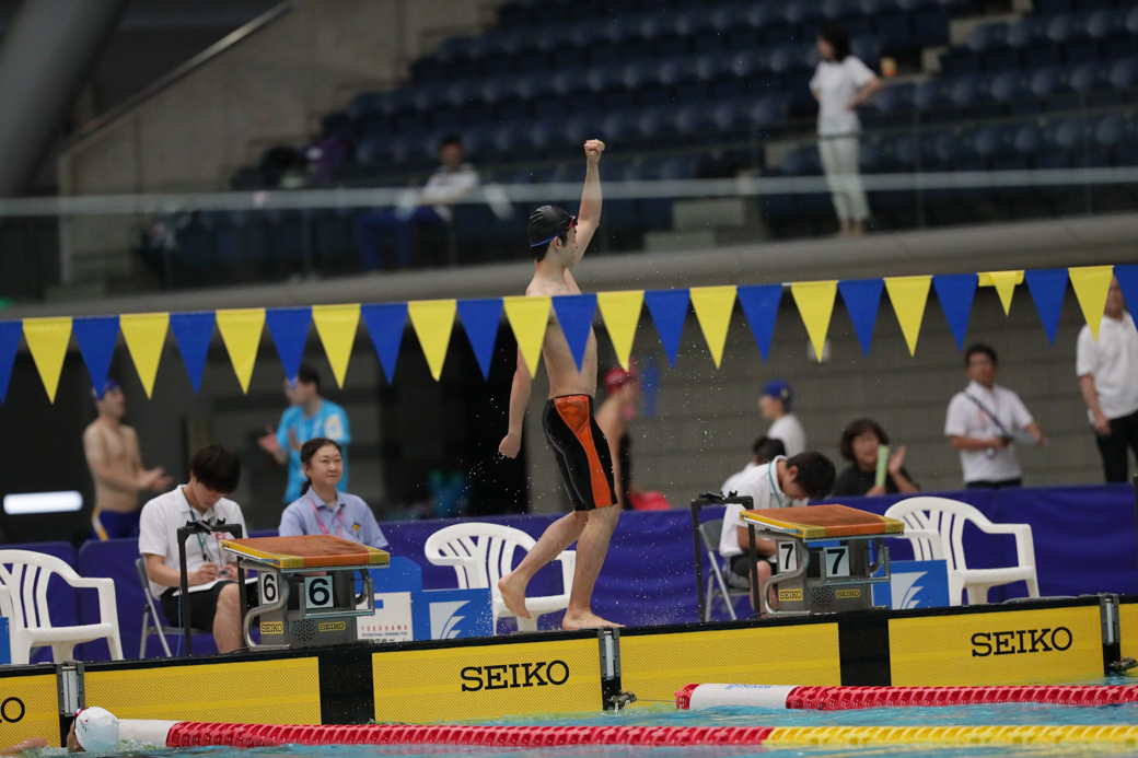 リオ代表クラスがひしめく200メートル個人メドレー・2分16秒11の日本記録で優勝した東海林大(山形ドルフィン) 写真・藤井理仁
