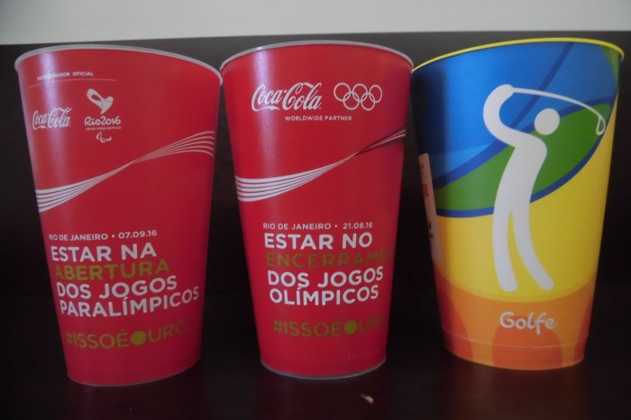 左から、パラリンピック開会式、オリンピック閉会式、オリンピックゴルフ競技のカップ