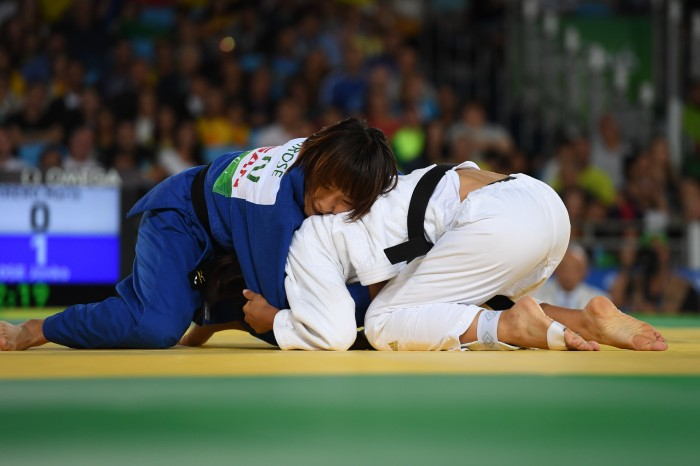 3位決定戦でブラジルの選手と対戦する廣瀬順子 写真・山下元気