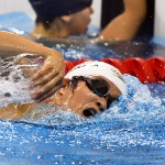 競泳8日目 予選を泳ぐ生長奈緒美選手 撮影 西川隼矢