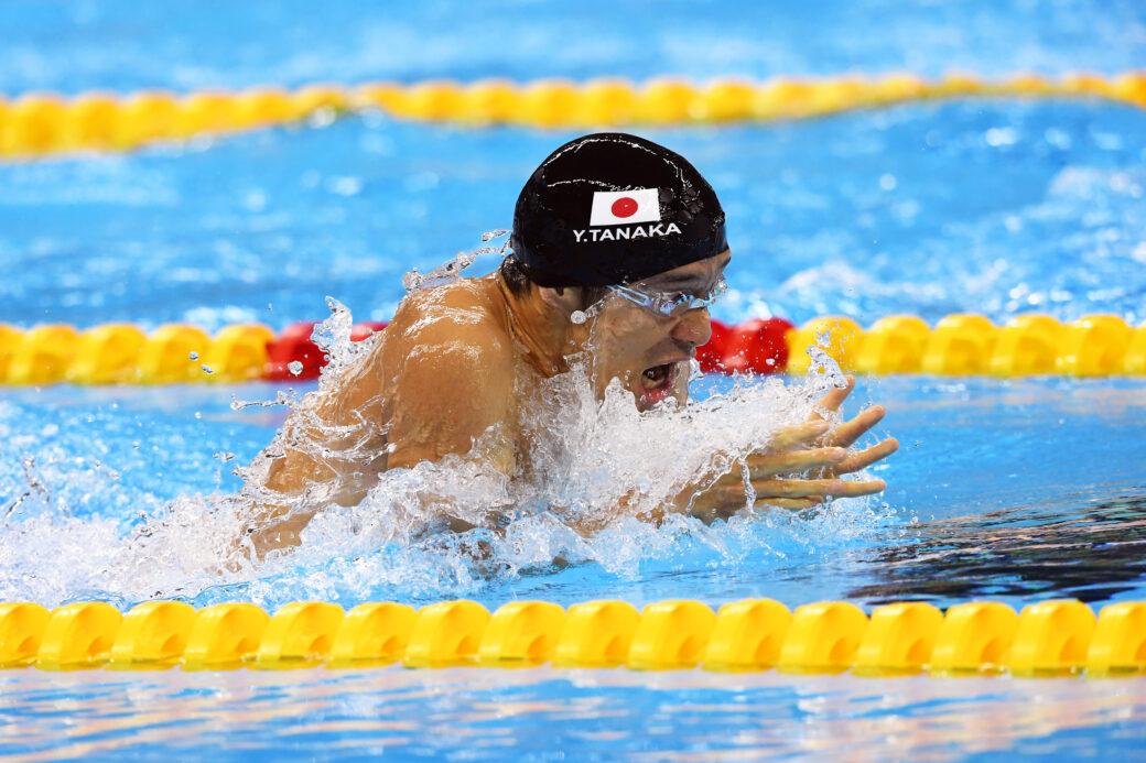 競泳7日目 予選を泳ぐ田中康大選手