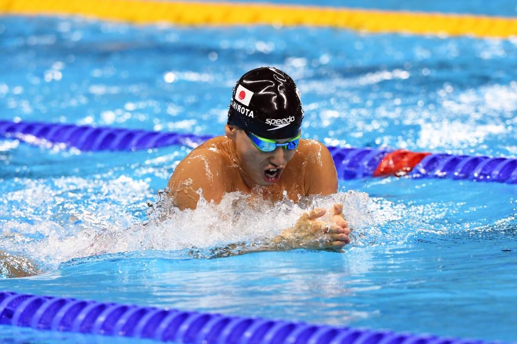 競泳7日目 予選を泳ぐ広田真一選手