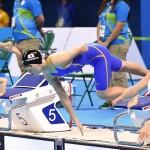 競泳8日目 予選を泳ぐ森下友紀選手 撮影 西川隼矢