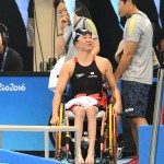 アジア記録更新で喜ぶ成田真由美選手
