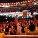 ブラジル代表の入場行進に湧くマラカナン競技場 写真・山下元気