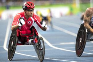 男子100メートル(T54)永尾嘉章、予選1組2着(採取順位9位)で決勝進出 写真・山下元気