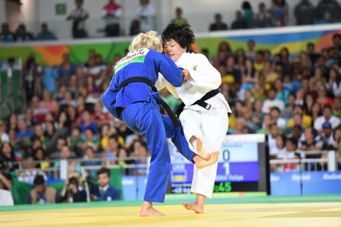 9月9日(現地時間)、視覚障害柔道女子48kg級 3位決定戦に出場した半谷静香は4分00秒ウクライナのYuliya Halinska に有効を取られて敗れ、銅メダルを逃した。 写真・山下元気