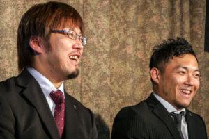 囲み取材で(左から)ウィルチェアラグビー本代表選手・池崎大輔、池透暢