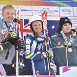 大回転、男子立位の表彰式。優勝はオーストラリアのミッチェル・ゴーリー(Mitchell GOURLEY)