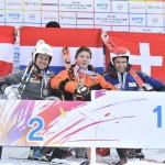 大回転・座位、表彰式。オーストリアのチャンピオン、ラベル・ロマン(RABEL Roman)を制し1位になったのは17歳のユーロン・カンプシャー(KAMPSCHEUR Jeroen)。