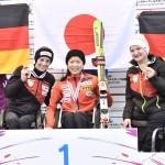 スーパー大回転2戦目、1位・村岡桃佳(早稲田大学)、2位・ドイツSCHAFFELHUBER Anna、3位・ドイツFORESTER Anna-Lena