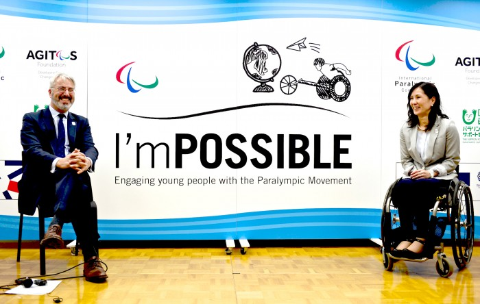 I'm POSSIBLE(国際版)ディレクター、IPC教育委員会委員長のニック・フラー氏(左)と日本語版プロジェクト・リーダーのマセソン美季氏。日本財団ビル(東京都港区)