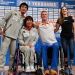 5月11日、記者会見に出席したパラトライアスロンの選手たち 写真・内田和稔