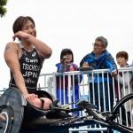5月13日、女子PTHC(車椅子)で優勝した土田和歌子。ミックスゾーンで記者に囲まれる