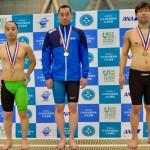 400メートル個人メドレーの表彰式。1位・津川拓也、2位・林田泰河、3位・石田真一