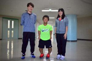 10月10日、日本体育大学1年生の3名が2020パラリンピックに陸上競技での出場を目指していることがわかった。左から、兔澤明美、山手勇一、鈴木雄大