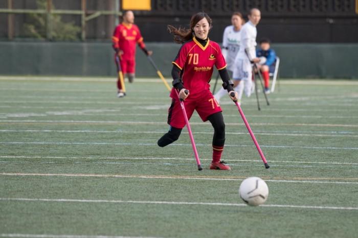 AFCバンブルビー千葉 VS FC九州バイラオールによる第4試合で出場した女子の佐藤直美(AFCバンブルビー千葉70番)