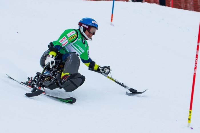 森井大輝(トヨタ自動車)はチェアスキーのセッティングもはまり、回転で好調をアピール