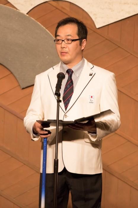 日本選手団主将、須藤悟/アイスホッケー (写真・そうとめよしえ)