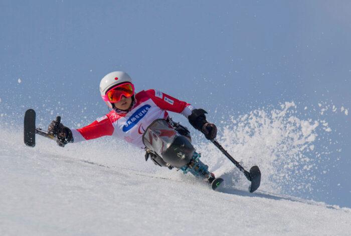 3月14日・平昌パラリンピック・アルペンスキー大回転での村岡桃佳の金メダルの滑り (写真・堀切功)