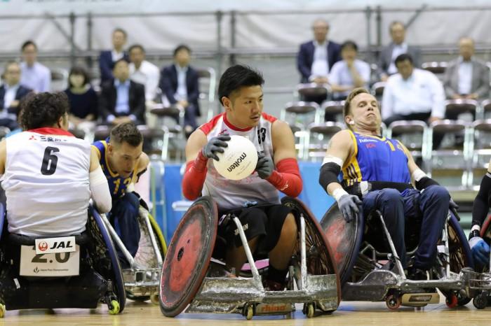 5月24日、スウェーデンとの第1試合に出場した、33番・ミッドポインターの永易雄(頸髄損傷・2.5点) (写真・内田和稔)