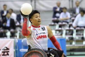 5月24日、第1試合に出場した、33番・ミッドポインターの永易雄(頚椎損傷・2.5点) (写真・内田和稔)