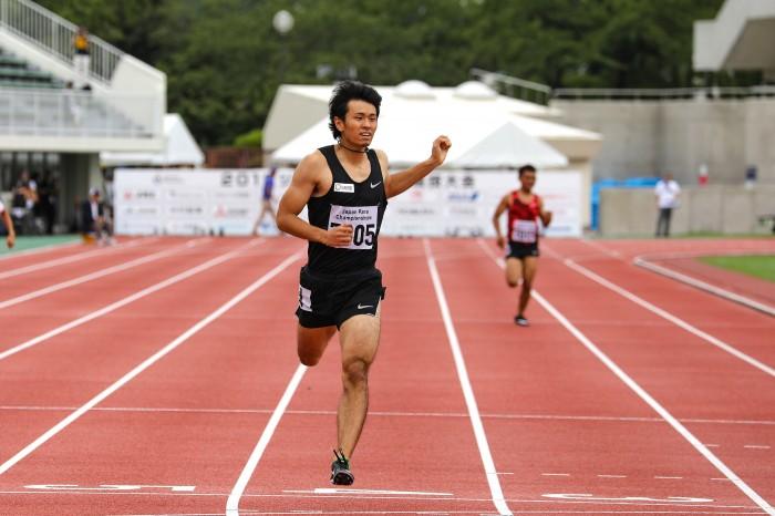 ジャパンパラ陸上男子400m(T70)で優勝した岡部祐介 筆者撮影