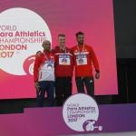 昨年のロンドン世界選手権表彰式。左から山本、ヨルゲンセン、シェファー 写真・筆者撮影