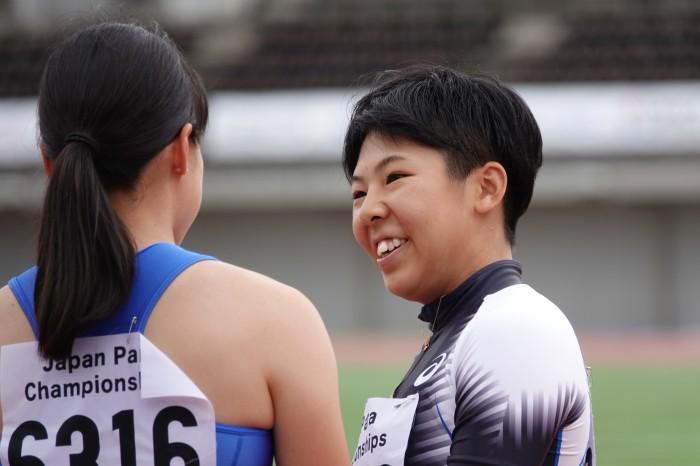 前川楓(T63/チームKAITEKI)。6月30日・7月1日に行われた関東パラ陸上では100mで16秒74、走り幅跳びで4m05と2種目でアジア記録を更新している(写真・久下真以子)