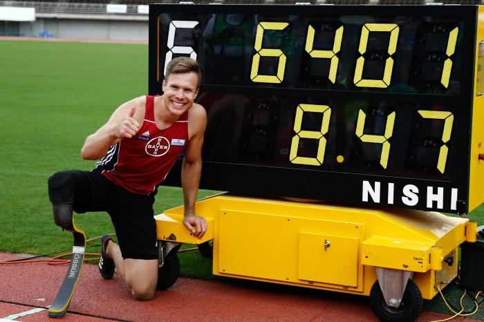 8メートル70の世界記録を更新したマルクス・レーム(ドイツ) 写真・水口之孝