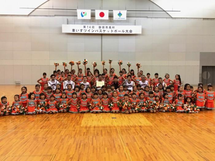 磐田市のチアクラブ『クローバーズ』の応援で、会場はとても賑わった