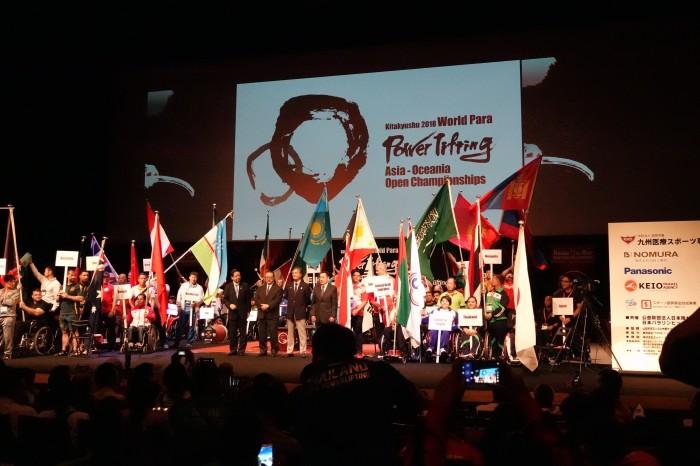 開会式。33国の選手たちが一堂に会した。写真・久下真以子