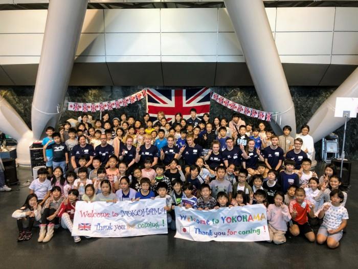 9月21日に行われた横浜市主催の交流会。イギリスチーム選手と横浜市立大曽根小学校4〜6年生 (写真・石野恵子)