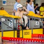 1日目、50M背泳ぎS4のスタート前の鈴木孝幸(GOLDWIN) 写真提供:日本身体障がい者水泳連盟