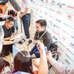 50M背泳ぎS4後にミックスゾーンでインタビューを受ける鈴木孝幸(GOLDWIN) 写真提供:日本身体障がい者水泳連盟