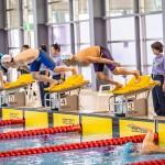 50メートルバタフライS9のスタート。奥側・山田拓朗(NTTドコモ)、手前・久保大樹(ケービーエスクボタ) 写真提供:日本身体障がい者水泳連盟