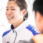 1日目、200M個人メドレー後にインタビューを受ける池あいり  写真提供:日本身体障がい者水泳連盟
